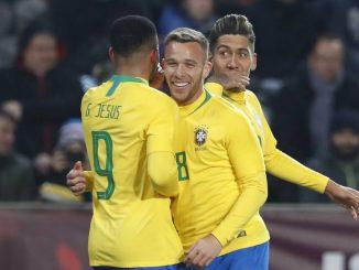 Firmino e dois de Gabriel em duas oportunidades marcaram os gols da seleção comandada pelo técnico Tite.